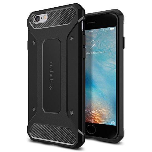 Spigen Rugged Armor Hülle Kompatibel mit iPhone 6s und Kompatibel mit iPhone 6 -Schwarz