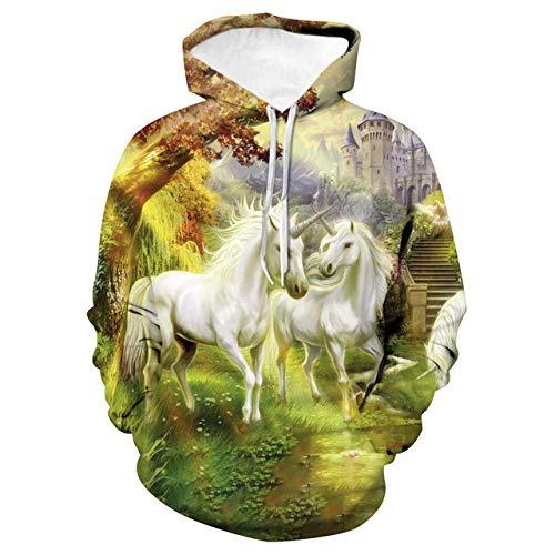 Simmia home Loses Kapuzenpärchenhemd, Baseballuniform, Einhorn, M3D Print Hoodie,Long-Sleeved Hooded Top Sweatshirt with Pockets