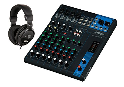 Yamaha MG10 Mischpult SET inkl. Kopfhörer (kompakter Mixer, 10-Kanal Konsole, 1 Stereo Bus, 48V Phantomspeisung, XLR Ausgang)