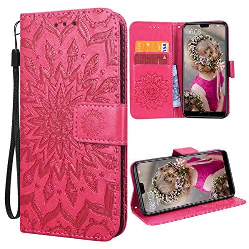 VemMore für Huawei P20 Hülle Handyhülle Schutzhülle Leder PU Wallet Flip Case Bumper Lederhülle Ledertasche Blumen Muster Klapphülle Klappbar Magnetisch Dünn Silikon Sonnenblume - Rot