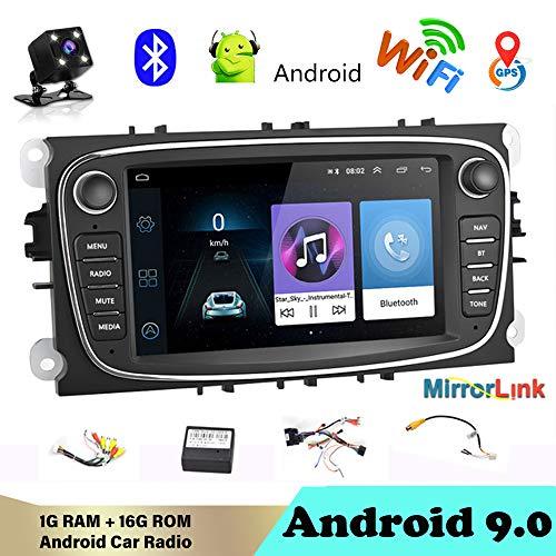 Autoradio Bluetooth 2 Din 7 'Android 9.0 Reproductor multimedia para auto audio de automóvil WIFI Navegación GPS Autoradio para Fo/rd / Focus/S-Max/Mondeo 9 / GalaxyC-Max con cámara de visión trasera
