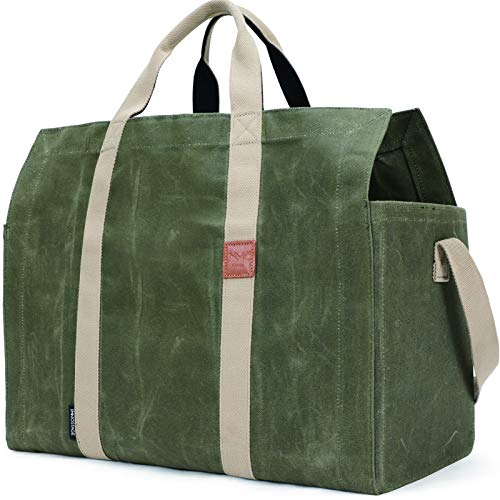 Free Standing Large Capacity Wax Canvas Firewood Log Carrier Tote Bag with...