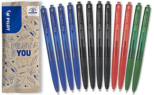 Pilot -Flowpack-12 Super Grip G retráctil colores surtidos 4 Azules, 4 Negros, 2 Rojos, 2 Verdes-Punta Media