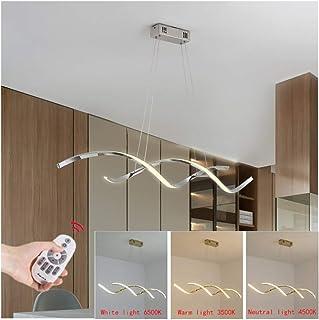Lámpara Colgante LED Mesa de Comedor Luz de Techo Regulable con Control Remoto Moderno Espiral Diseño Iluminación Pendiente Araña para Dormitorio Habitacion Salón Restaurante Cocina Plafón,B 110cm 30w