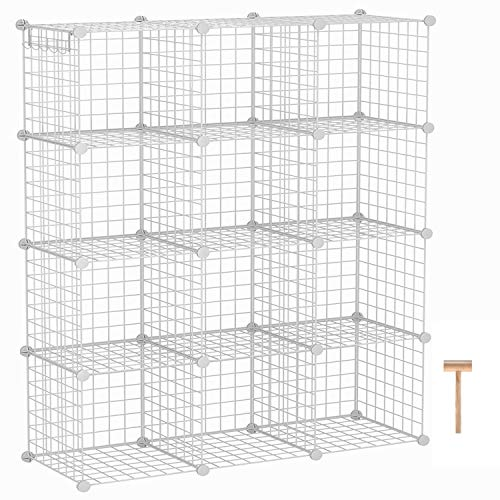 """C&AHOME Wire Cube Storage Organizer, 12-Cube Storage Shelf, Storage Bins, Modular Bookcase Shelving, DIY Closet Cabinet Ideal for Living Room, Bedroom, Office 36.6""""L x 12.4""""W x 48.4""""H White"""