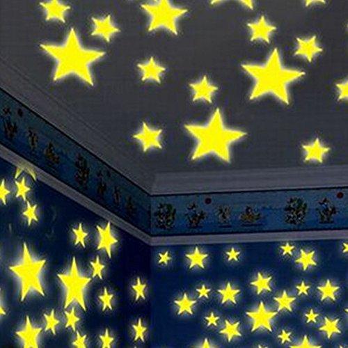Glow in The Dark Wall Stickers,Deloito 3D Stars Glow in The Dark Luminous Fluorescent Wall Stickers Room Kitchen Bathroom (2.5cm, F)