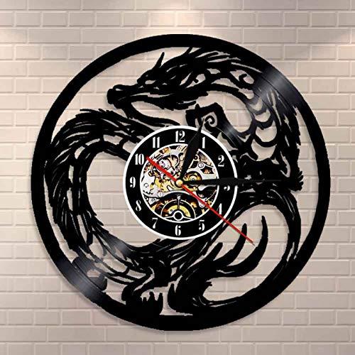 YINU Reloj de Pared de Animales míticos Antiguos con Arte de dragón Yin Yang, Reloj de Pared con Registro de Vinilo de Monstruo de fantasía Chino, Reloj de decoración para el hogar, Regalo