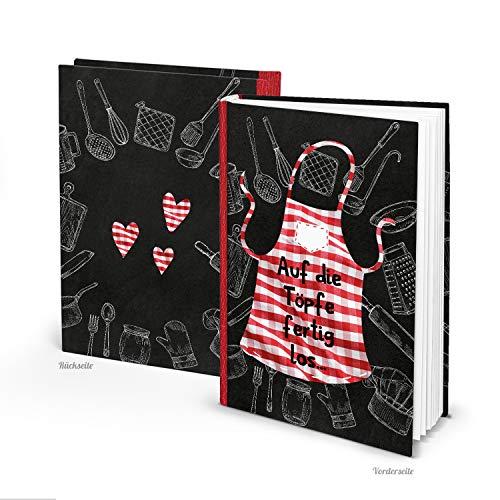 Logbuch-Verlag leeres Rezeptbuch zum Selberschreiben DIN A5 schwarz weiß rot Kochschürze - DIY Kochbuch für eigene Rezepte Geschenk