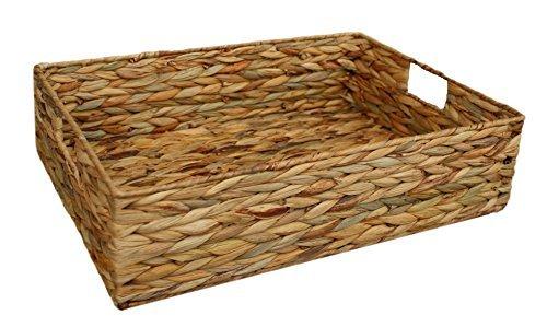 Home Decor Water Hyacinth Rectangular Shallow Storage Basket Tray Small Large Medium or Full Set (LARGE)