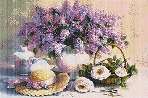 성인 자수 초보자와 어린이용 크로스 스티치 키트 11CT 패턴 직물 니들워크 아름다운 꽃 NCMF213(26.8인치 X 18.9인치 코튼)