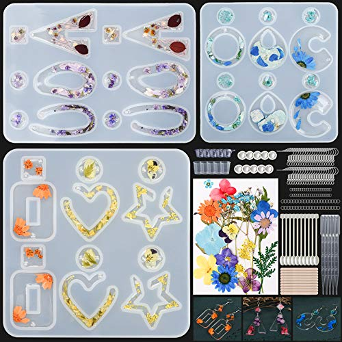 Resin Mold Kit,186 PCS Earring Silicone Molds for Epoxy Resin Casting-Real Dried Flowers