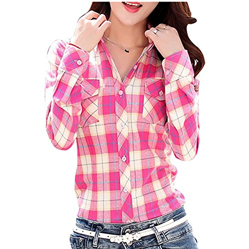 Women's Classic Plaid Cotton V Neck Button-up Flannel Shirts(Water Red,US XS=Tag M)
