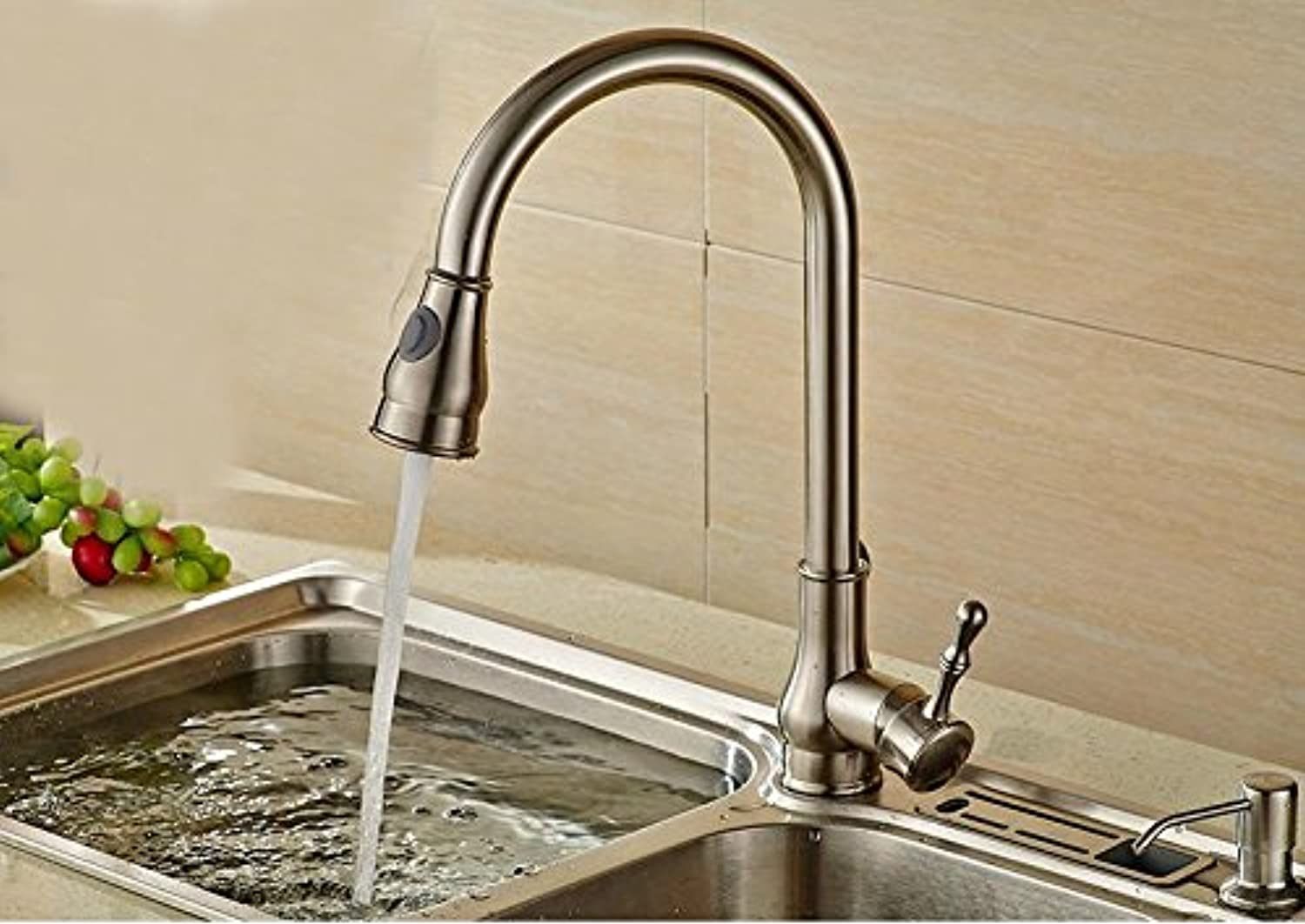 PLYY Full copper drawing pull faucet, kitchen faucet, hot and cold water tank wash basin turn the faucet