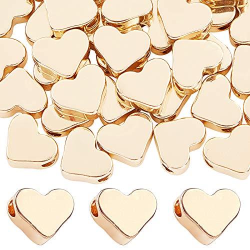 PandaHall 60 Cuentas de latón con Forma de corazón, Chapado en Oro de Larga duración, Cuentas espaciadoras de corazón de Metal para Collar, Pulsera, Pendientes, Manualidades, San Valentín