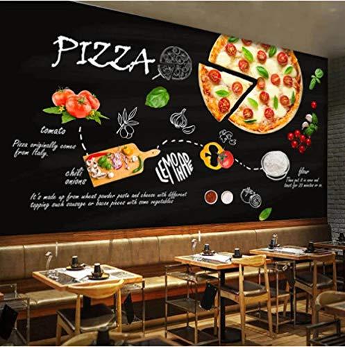 Fotomurales 3D Blanco Y Negro 350cmx250cm Hamburguesa De Pizza Deliciosa Papel Pintado Art Póster Murales Foto Mural Pared Salón Dormitorio Despacho Decor