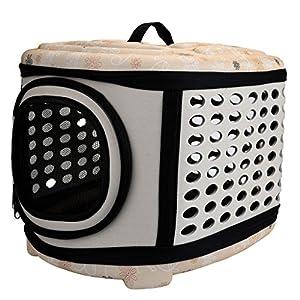 Mogoko Niche de transport pliable pour animal domestique Maison avec coque rigide–Chien et chat Niche de voyage avec Hard Top et sols durs pour la plupart des chats, chiens de petite taille