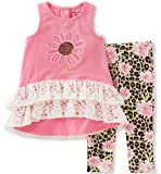 Juicy Couture Baby Girls 2 Pieces Pants Set-High Low Tunic, Pink, 0/3M