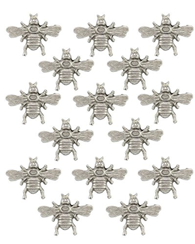 Large Silver Spread Wing Bee Push Pins, 15 Pieces T136AS