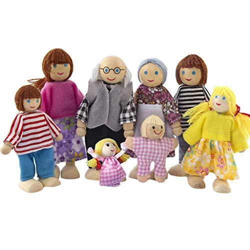 Muebles de madera Muñecas Casa Familia Miniatura 8 Personas Muñeca Juguete Para Niño Juguetes y HobbiesEducación