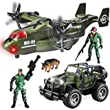 JOYIN Military Vehicle Toy Set of Friction Powered Transport Airplane and Military Truck with Light and Sound Sirens and Soldier Army Men Action Figures for Kids