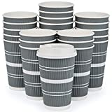 Disposable Coffee Cups with Lids and Straws – (80 Pack) 16 oz Extra Thick Durable To Go Paper Cup for Home, Office, Travel, and Parties – Insulated for Cold/Hot Chocolate & other Drinks & Beverages