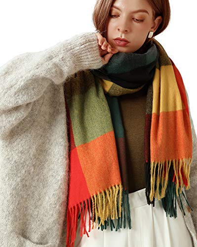 Womens Large Scarfs Pashmina Shawls and Wraps Plaid Reversible Warm Blanket Soft Cashmere Feel Winter Fall