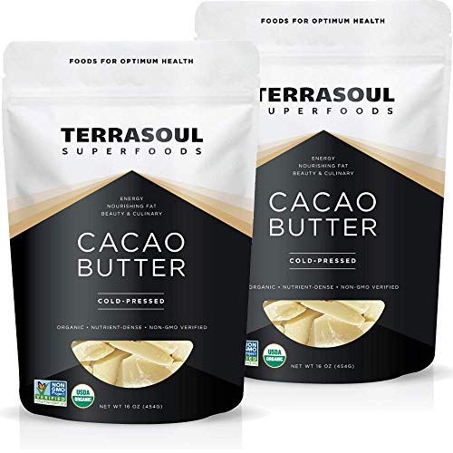Terrasoul Superfoods Organic Cacao Butter, 2 Lbs - Raw   Keto   Vegan   Unrefined