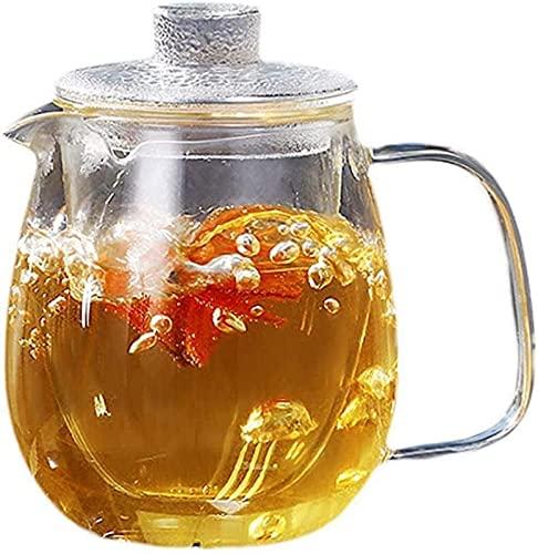 aipipl Taza Tetera de Vidrio Grande Flor Transparente Filtro de hervidor de té Taza de té para el hogar Taza de té Juego de Kung Fu de Gran Capacidad Taza de té, 600 ml