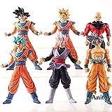 Dragon Ball: Jiren y Goku Figura Acción Transfiguración Super Saiyan Hecho a mano en PVC Otaku y regalo de juguete favorito de fanáticos de la historieta 16-18cm 6pcs / Set en una bolsa-1227