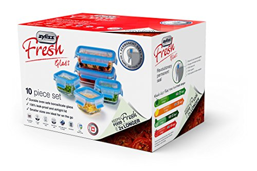 """Zyliss""""Fresh"""" Glass Food Storage Container 10-Piece Set with Snap Locking Lids – 100% Leak Proof Airtight - Stackable"""