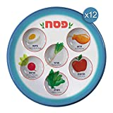 The Kosher Cook Disposable Passover Seder Plate - 12-Pack - 10 Inch, Heavy Duty Plastic, P...