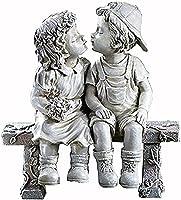 男の子の女の子が庭の像、ベンチ樹脂の男の子と女の子の庭や女の子の飾りや家の飾り彫刻の像置物の庭の装飾(Color:C)