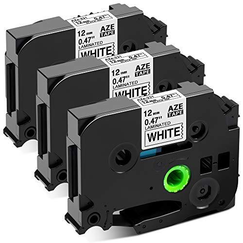 Invoker Ruban pour Étiqueteuse compatible pour Brother P-touch TZe-231 TZe231 TZ Tape 12mm 0.47, pour Brother Ptouch PT-H110 PT-H100LB PT-E100 PT-D400 PT-1250, Noir sur Blanc, Pack de 3