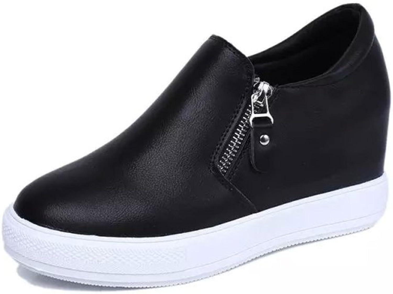 Huhuj Spring high platform shoes and leisure Zipper fashion student shoes