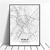 linshel Venlo Enschede Nijmegen Niederlande Karte Poster