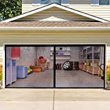 Q-Hillstar Garage Door Screen for 2 Car 16x7FT Garage Doors, Heavy Duty Garage Door Screens with Magnets, Retractable Hands Free Garage Net Screen with 6 Strapping Tapes (Black)