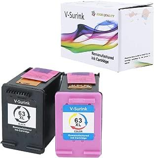 V-Surink Remanufactured Ink Cartridge Replacement for Hp 63XL (1 Black, 1 Color) Used in Envy 4520 4516 Officejet 5255 5258 4655 4650 3830 3831 4655 Deskjet 2130 2132 1112 3630 3633 3634 Printer