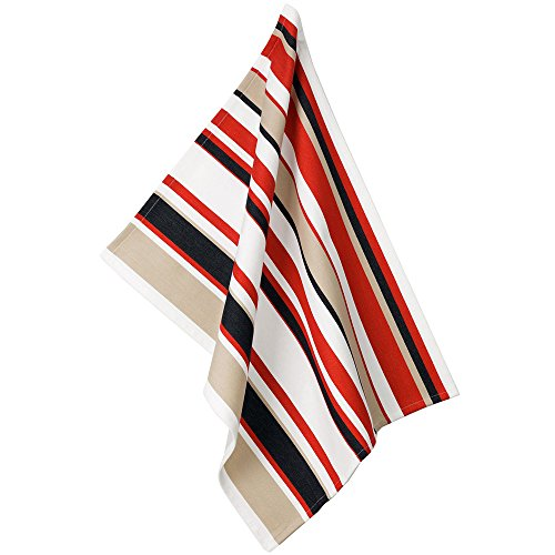 Kela 11735 Tabea Torchon de cuisine Motif Rayure Coton Blanc/Rouge/Taupe 50 x 60 x 1 cm