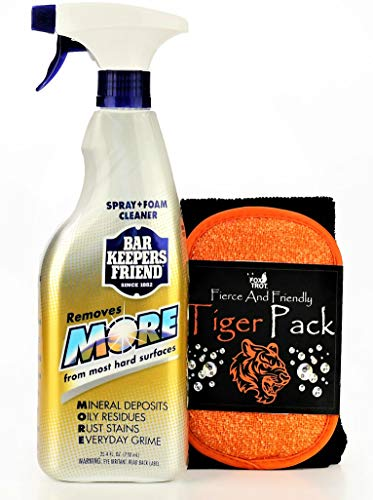 Hard Water Stain Remover Cleaner For Showers Sinks And More - Bar Keepers Friend Spray Foam And Tiger Pack Cleaning Kit