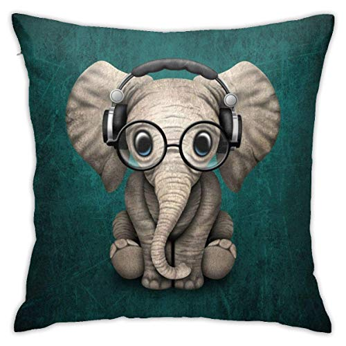 Throw Pillow Cover Cushion Cover Pillow Cases Decorative Linen Cute Elephant With Earphone for Home Bed Decor Pillowcase,45x45CM