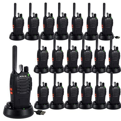 Retevis H777 Plus Walkie Talkie, PMR446 16 Canales CTCSS/DCS, Radio Bidireccional Recargable con Linterna LED, VOX, Walki Talki de Mano para Almacén, Fábrica, Supermercado (Negro, 20 Piezas)