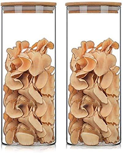 Botes para Alimentos Tarro de Almacenamiento Tarros Botes 2pcs Los Contenedores De Almacenamiento De Vidrio Con Tapas Herméticas De Bambú For Su Despensa, Tarro De Almacenamiento De Alimentos, Contene