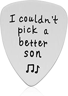 Son Gifts from Mom Dad - Stainless Steel I Couldn't Pick A Better Son Guitar Pick Jewelry Musician Gifts, Unique Birthday Gift for Son from Mother and Father