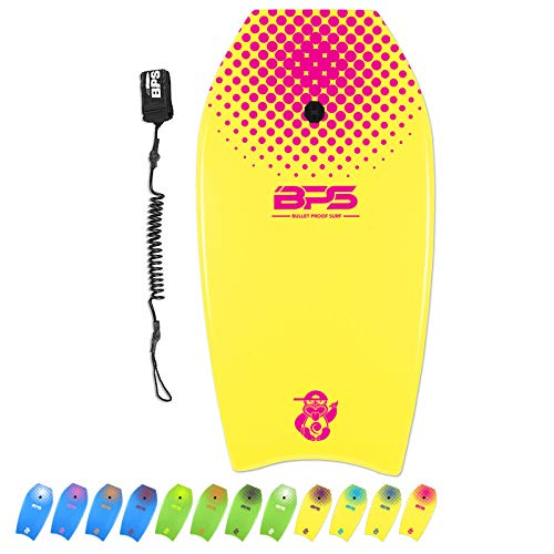 BPS 'Shaka' Bodyboard with Wrist Leash - Strong TPU Wrist Leash and Constructed with HPDE Slick Bottom (Yellow with Pink, 33-inch)