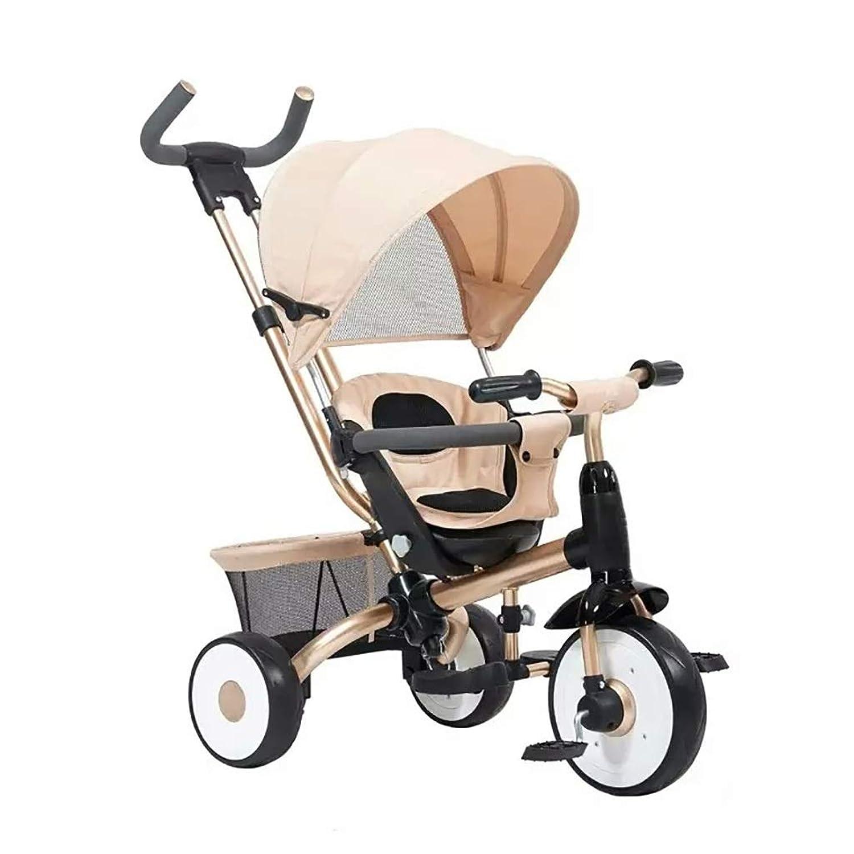 NBgy 三輪車、折りたたみ式ペダル多機能スリーインワン子供三輪車、日よけ付き、屋外用三輪車、3色、101X103x52cm (色 : ゴールド)
