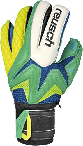Reusch Erwachsene Torwarthandschuhe Waorani Pro M1 Ortho-Tec, Irish Green/Safety Yellow, 10.5, 3470101