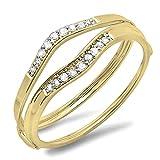 Anillo de boda de oro de 18 quilates con diamante blanco redondo de 0,12 quilates para ani...