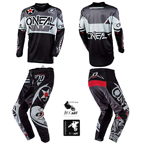 O'Neal Element Warhawk Black/Gray Adult motocross MX off-road dirt bike Jersey Pants combo riding gear set (Pants W34 / Jersey Large)