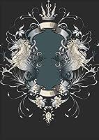 igsticker ポスター ウォールステッカー シール式ステッカー 飾り 515×728㎜ B2 写真 フォト 壁 インテリア おしゃれ 剥がせる wall sticker poster 000007 ユニーク 馬 黒 エンブレム