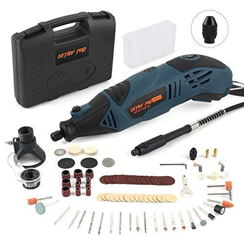 DETLEV PRO Strumento Multifunzione Utensile Rotante Mini Drill con 153 Accessori 170W 35000 RPM(Max) 6 Velocità per Incisione Lucidatura Taglio Molatura e Fai Da Te, GW3010